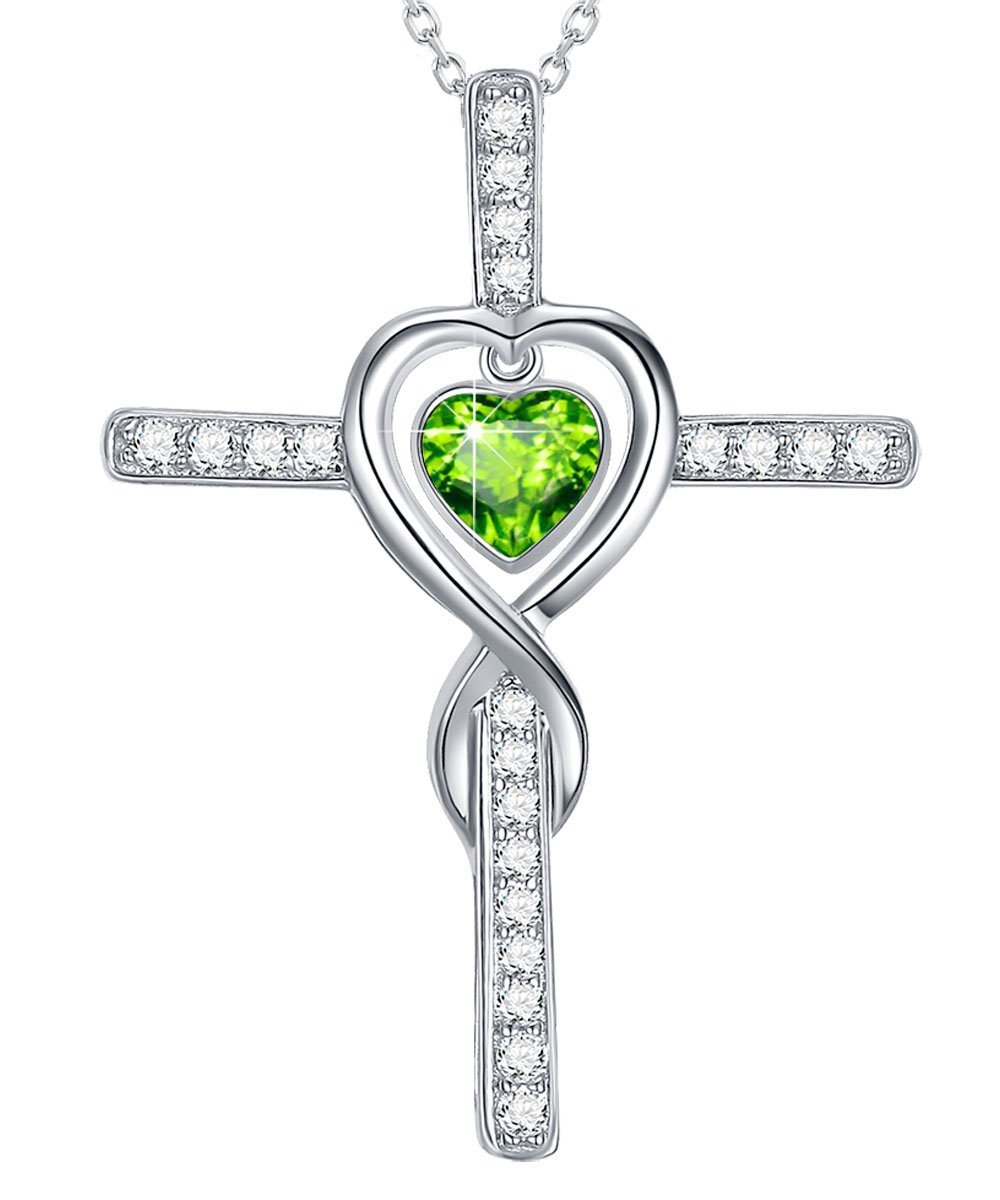 Love Heart Infinity God Cross Necklace Gifts for Wife for Women Green Peridot Jewelry Anniversary Birthday Present Gifts for Her Sterling Silver Swarovski Pendant and 18''+2'' Chain