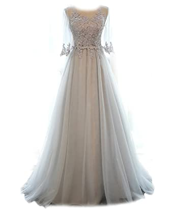 FOLOBE Women\'s Vintage Lace Wedding Dress Long Bridal Gown Dresses ...