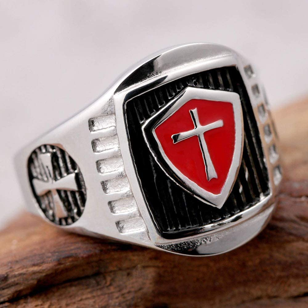 HonorBoard Mens Knights Templar Rings Christian Cross Knights Templar Shield Ring Band Master Cross Signet Ring Vintage Red Cross Sword Ring for Memorial