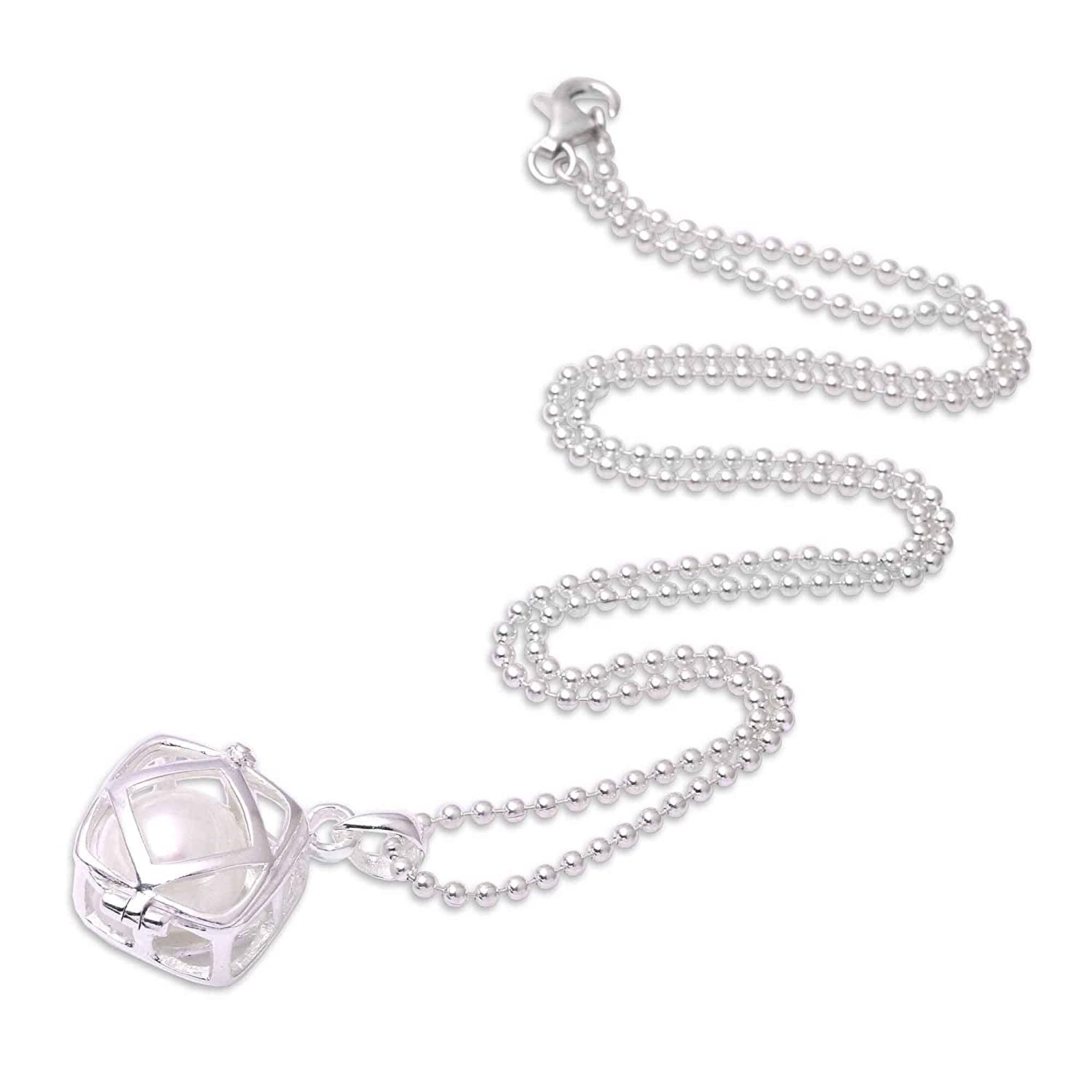 NOVICA Silver White Cultured Freshwater Pearl .925 Silver Necklace 20 Glow Within
