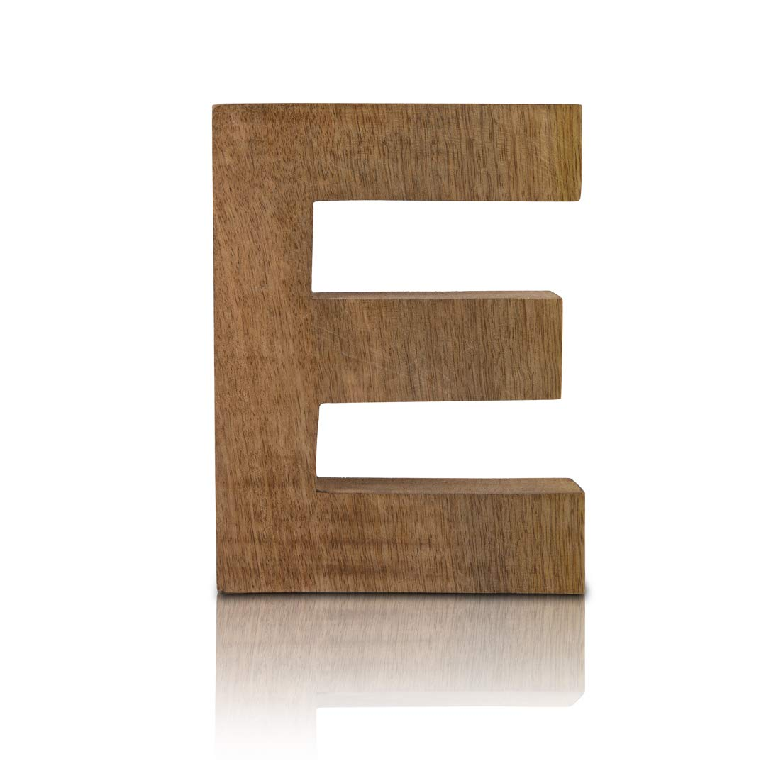 """8"""" Decorative Solid Block Wooden Letters Alphabets Words Natural Finished Wood Freestanding Shelf or Tableware Childrens Baby Names Initials for Bedroom Wedding Birthday Party Home Decor (Letter E)"""
