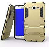 Heartly Samsung Galaxy J2 SM-J200F (2015) Back Cover Graphic Kickstand Hard Dual Rugged Armor Hybrid Bumper Case - Mobile Gold