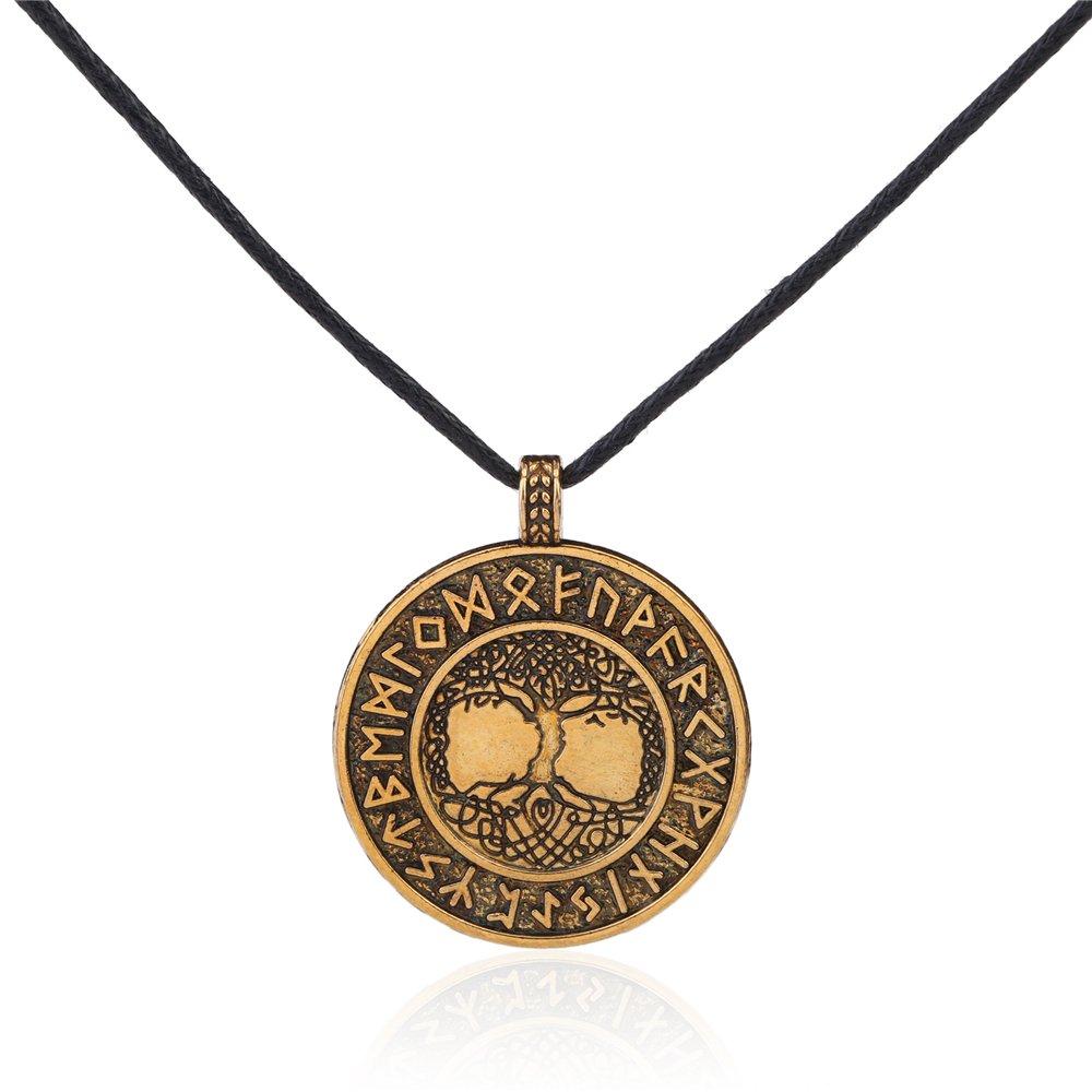 Skyrim Norse Viking Tree of Life The World Tree 24 Amulet Runes Talisman for Life Necklace YI WU KE JI