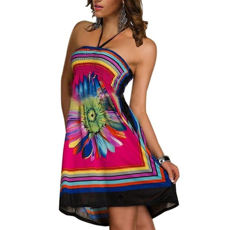 YOGLY Damen Bohemian kleid Sommerkleid Tunika Abendkleid Fraun ...