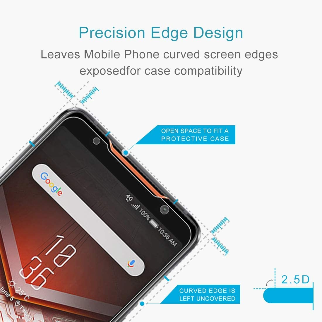 CAIFENG Tempered Glass Film Screen Protector 100 PCS 0.26mm 9H 2.5D Explosion-Proof Tempered Glass Film for Asus ROG Phone Anti-Scratch