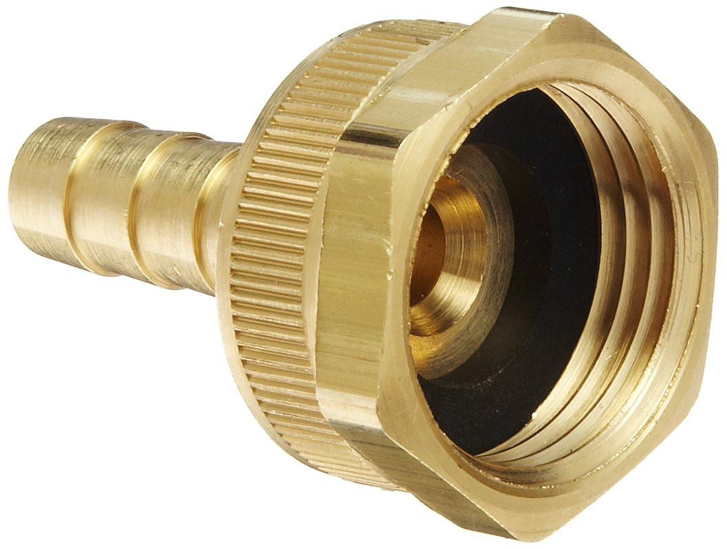 "Dixon BCF73 Brass Hose Fitting, Machined Coupling with Swivel Nut, 3/8"" GHT Female x 3/8"" Hose ID Barbed"