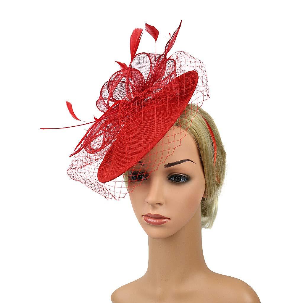 TUDUZ Main Femmes Clip de Cheveux De Mariage Casual Fascinator Grand Chapeau Headpieces Robe Tea Party Chapeaux De Mariage