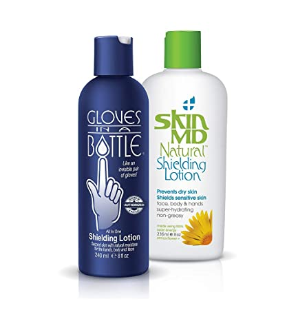 Gloves In A Bottle Shielding Lotion – Great for Dry Itchy Skin Grease-less and Fragrance Free B3-Shielding Lotion Combo