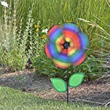 In the Breeze 12 Inch Rainbow Stripe Flower Spinner with Leaves - Includes Ground Stake - Colorful Flower for your Yard and Garden