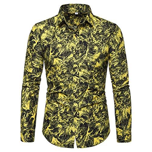 iHPH7 Dress Shirt Slim-Fit Wrinkle-Resistant Long-Sleeve Printed Shirts Slim Comfortable Shirt Men (4XL,4- Yellow)]()