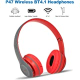 P47 Wireless Bluetooth 4.1 Headphones Foldable Over Ear Headset 3.5mm Muisc Earphone FM Radio TF Card Slot Hands-free w/Mic