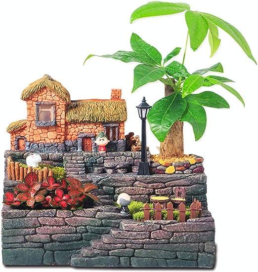 Bosque Hada Jardín Miniatura Tocón Casa de árbol Escultura Flor Plantas Suculenta Olla Figuras de jardín en Miniatura (Color : Tree House, tamaño : 21.5cm*24cm*14cm): Amazon.es: Hogar