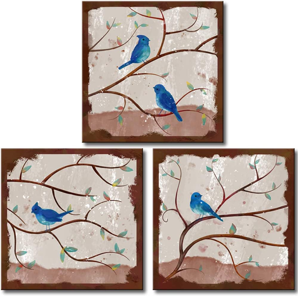KLVOS Bird Canvas Art Print Blue Color Cardinals on Tree Vintage Animal Wall Decor Set of 3 Framed Artwork Prints Stretched Ready to Hang for Home Bathroom Kitchen Office Decoration 12x12inchx3pcs
