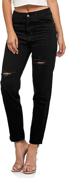 Damen Mom Jeans Denim Weite High Waist Hose Cropped Destroyed Look Risse Design