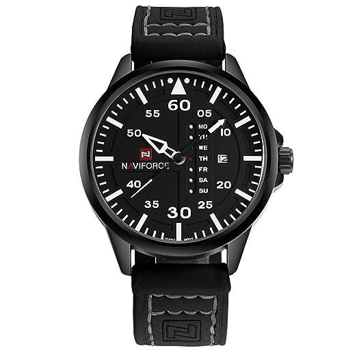 Reloj Kenon Real Leather Reloj deportivo impermeable Digital Reloj militar Army Quartz deportivo con Muti-Funciones (Negro): Amazon.es: Relojes