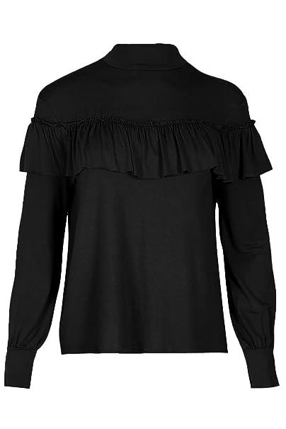 Oops Outlet Manga Larga Mujer Fruncido Volante Polo Tortuga Cuello Alto Jersey Camiseta - Negro,