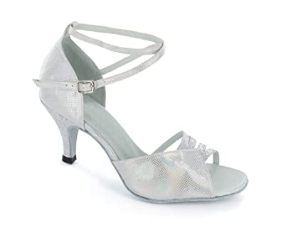 72ceca30e4a MINITOO Women s High Heel Peep Toe Cross Strap Sequins Silver Latin Dance Shoes  Sexy Trendy Strappy