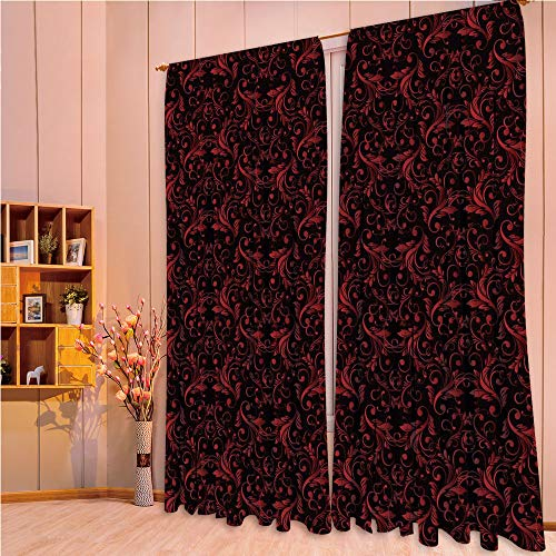 ZHICASSIESOPHIER Darkening Thermal Insulated Short Curtain Adjustable Tie Up Shade Panel for Small Window,Rod Pocket,Design with Ivy Swirls Flowers Ethnic Design Image 108Wx84L Inch ()