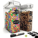 Chef's Path Cereal Storage Container Set - 100% Airtight Best Dry Food Keepers - 8 FREE Chalkboard Labels & Pen - Great for Flour, Sugar & More - BPA Free Dispenser (16.9 Cup 135.2oz) 2-PC