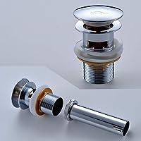 AuraLum® Ablaufgarnitur für den Waschtisch Pop Up Druckknopf Ablaufventil 1 1/4 Zoll mit Überlauf für Waschbecken