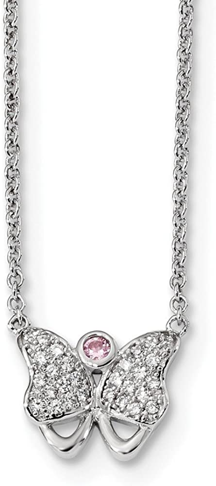 Solid 925 Sterling Silver CZ Cubic Zirconia Butterfly 17 inch with 1.5 inch Extension Neck 17