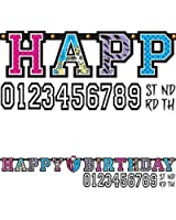 """Freaky Fab Monster High Happy Birthday Party Add-an-Age Customizable Jumbo Letter Banner Decoration (1 Piece), Multi Color, 10 1/2' x 10""""."""