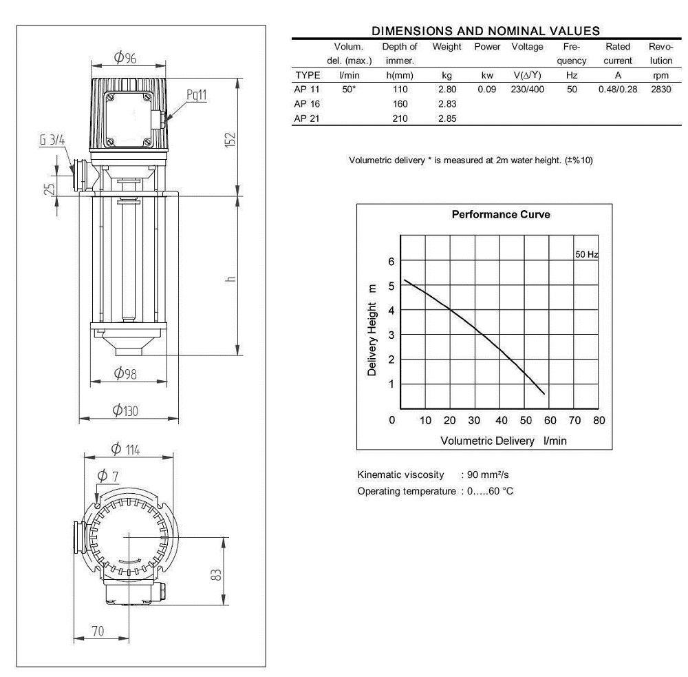 AP-11 Lubrifiant Pompe pompes transfert de lubrifiants et dhuile 11cm
