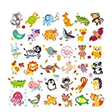 36PCS Washable Patch Cute Cartoon Jungle Animals Pattern Heat Transfer Print Colorful Pyrography Stickers Iron On Patch for Baby Kids Clothing