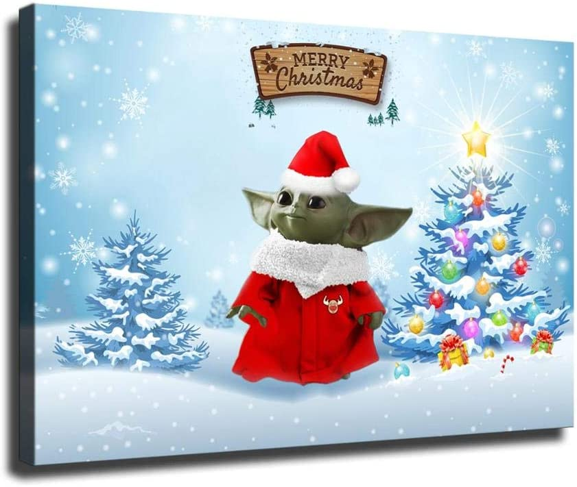 "Merry Christmas Baby Yoda and Christmas Tree HD Print Canvas Paintings Wall Art for Home Living Room Bedroom Office Painting Drawing Decor Decorations 24""x36"" No Framed"