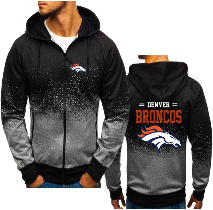 YCJL Herren Jersey Hooded Denver Broncos Hoodie Sportswear Baumwolle Atmungsaktiv Classic Langarm-Sweatshirt Mit Rei/ßverschluss Fitness Wear Casual Jacket