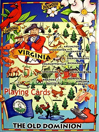 (Virginia The Old Dominion State Road Map Souvenir Playing Cards)