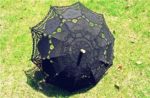 Saitec® 30'' New Arrival Black Old Fasion Embroidered Lace Parasol Sun Umbrella Wedding Bridal Party Decoration by Saitec (Image #1)