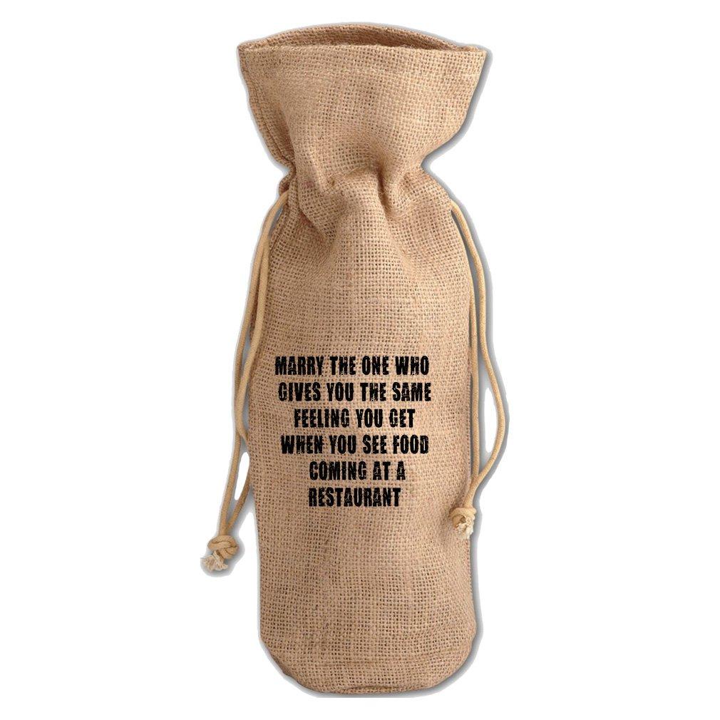 Get When You See Food A Restaurant #2 Jute Burlap Burlap Wine Drawstring Bag