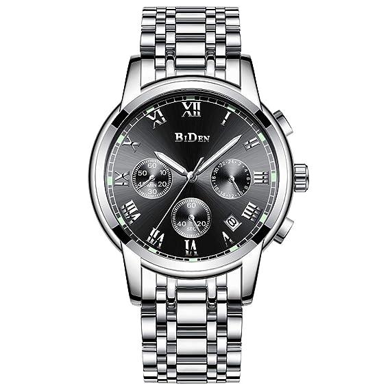 Relojes De Hombre Deportivos Clásicos Militar Especiales Marea Moda Acero Inoxidable Plateado Calendario Analógicos Reloj De Pulsera para Hombre
