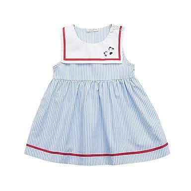 Vestido para Niñas Falda Manga Corta Algodón: Amazon.es: Ropa y ...