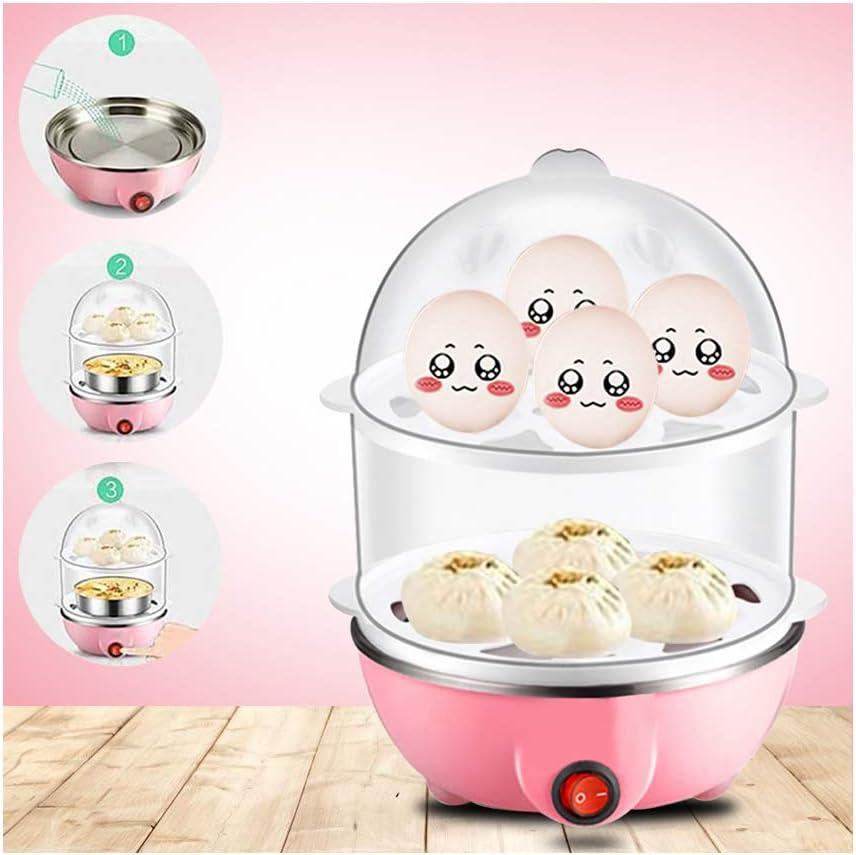 Egg Cooker QUNANEN Eggs Cooker Double Breakfast Machine Stainless Steel Multi-Function Steamer for Steamed Vegetables, Seafood, Dumplings, Egg (Pink)