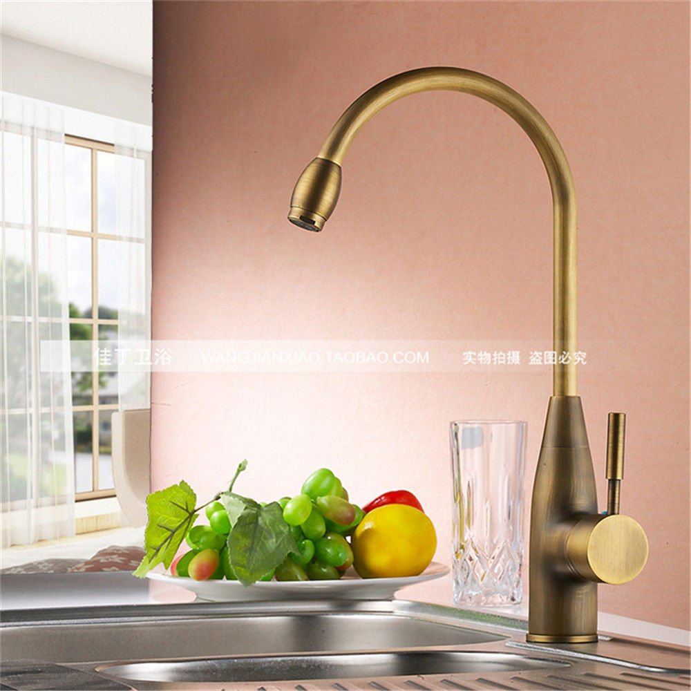 Lpophy Bathroom Sink Mixer Taps Faucet Bath Waterfall Cold and Hot Water Tap for Washroom Bathroom and Kitchen Copper Antique Single Hole Retro Hot and Cold 360 redation