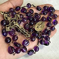 elegantmedical HANDMADE PURPLE AMETHYST 5 DECADE ROSARY CROSS CRUCIFIX NECKLACE beads catholic Mens Womens Gifts