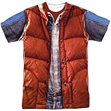 Back To The Future Marty McFly Vest Costume Adult Movie Front Print T-Shirt Tee