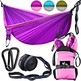 """OUTDRSY Reinforced Camping Hammock Full Set 550lbs Capacity, 118"""" x 78"""" Double Size Tree Hammock, Compact 210T Nylon Parachute Hammock with Set of Widened Tree Straps & Carbon Steel Carabiners"""
