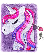 (Purple Unicorn) - Diary with Lock for Girls, Unicorn Journal , Magic Travel Journal Notebook for Adults and Kids , a Heart Shaped Lock and 2 Keys, for Christmas & New Year