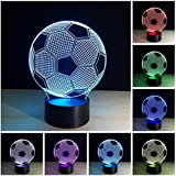 3D LED Night Football Soccer Lighting Lamp Desk Table Lamp 7 Color Change Kids Baby Bedroom Decoration Children Gift
