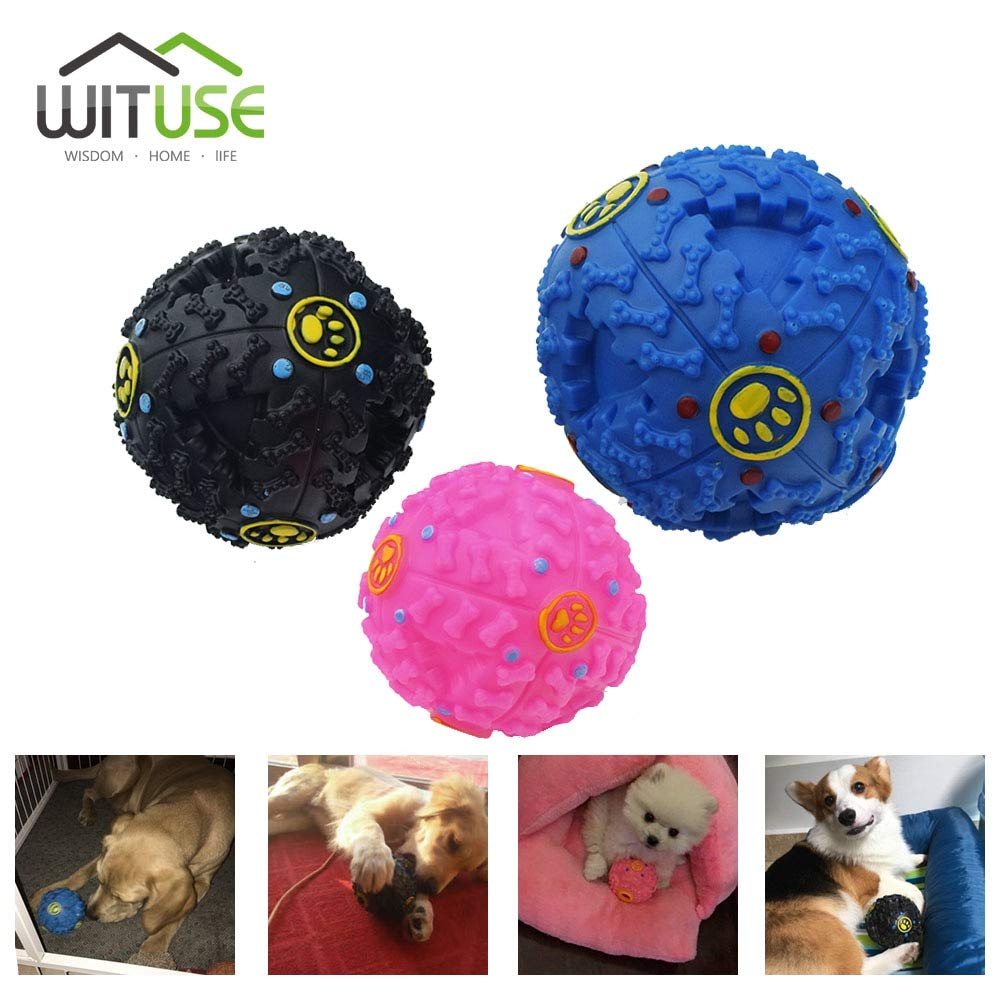 Interactive Black Pink bluee Balls Pet Puppy Dog Toys Rolling Ball Food Dispenser Treat Toy Dog Pet Fun Squeak Balls S M L
