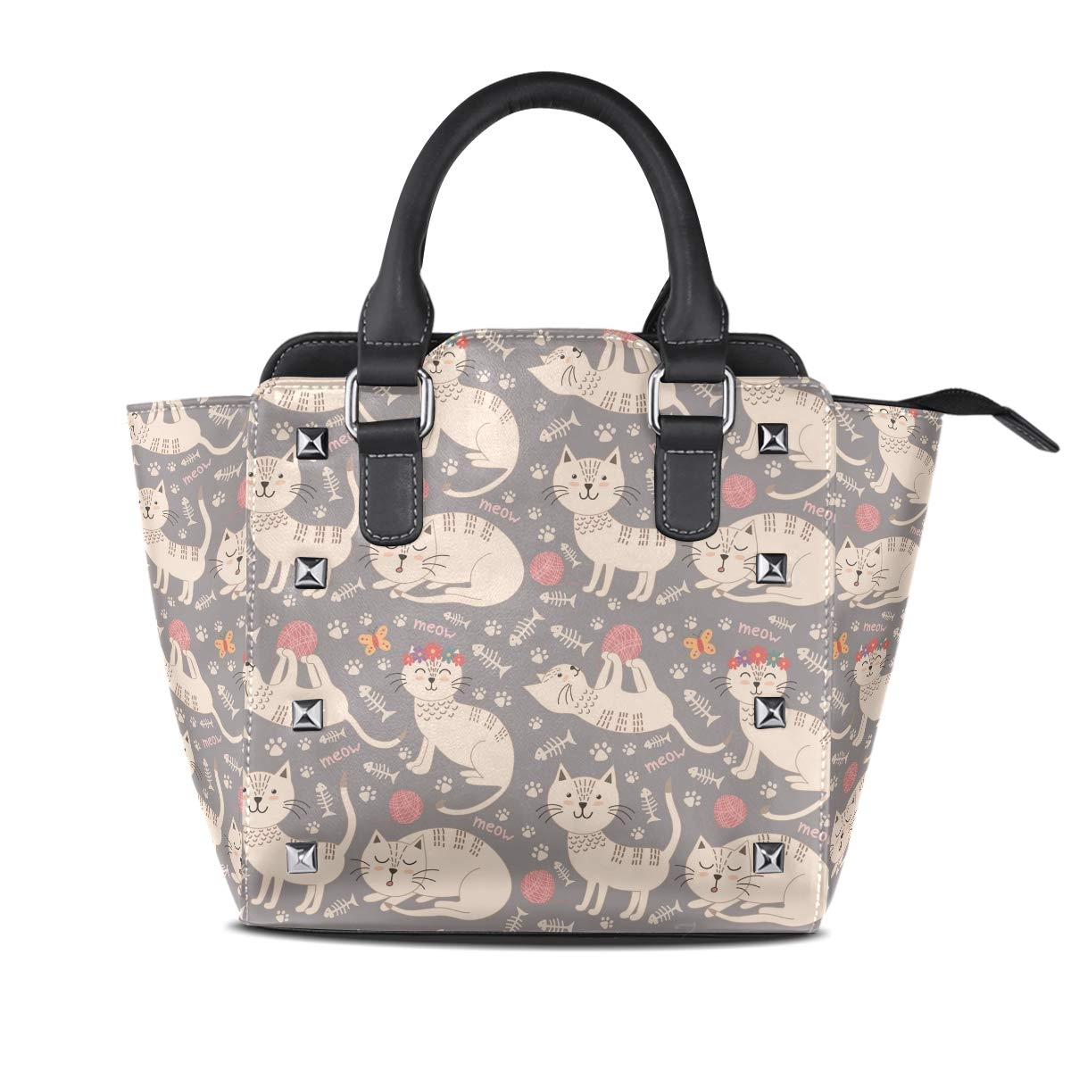 Design1 Handbag Cat Is Playing With Ball Of Yarn Genuine Leather Tote Rivet Bag Shoulder Strap Top Handle Women