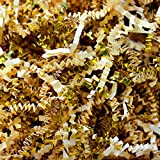 Ivory Crinkle Cut Paper Metallic Mix - 1/2 Lb Ivory and Gold Gift Basket Filling Christmas Shredded Paper