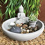 The Table Top Zen Garden Plus Buddha, Includes Soul Stone Candle, Rocks, Succulent Candle and glass tealight, 9 7/8 Inches in Diameter, Mixed Materials, Gift Set, By Whole House Worlds