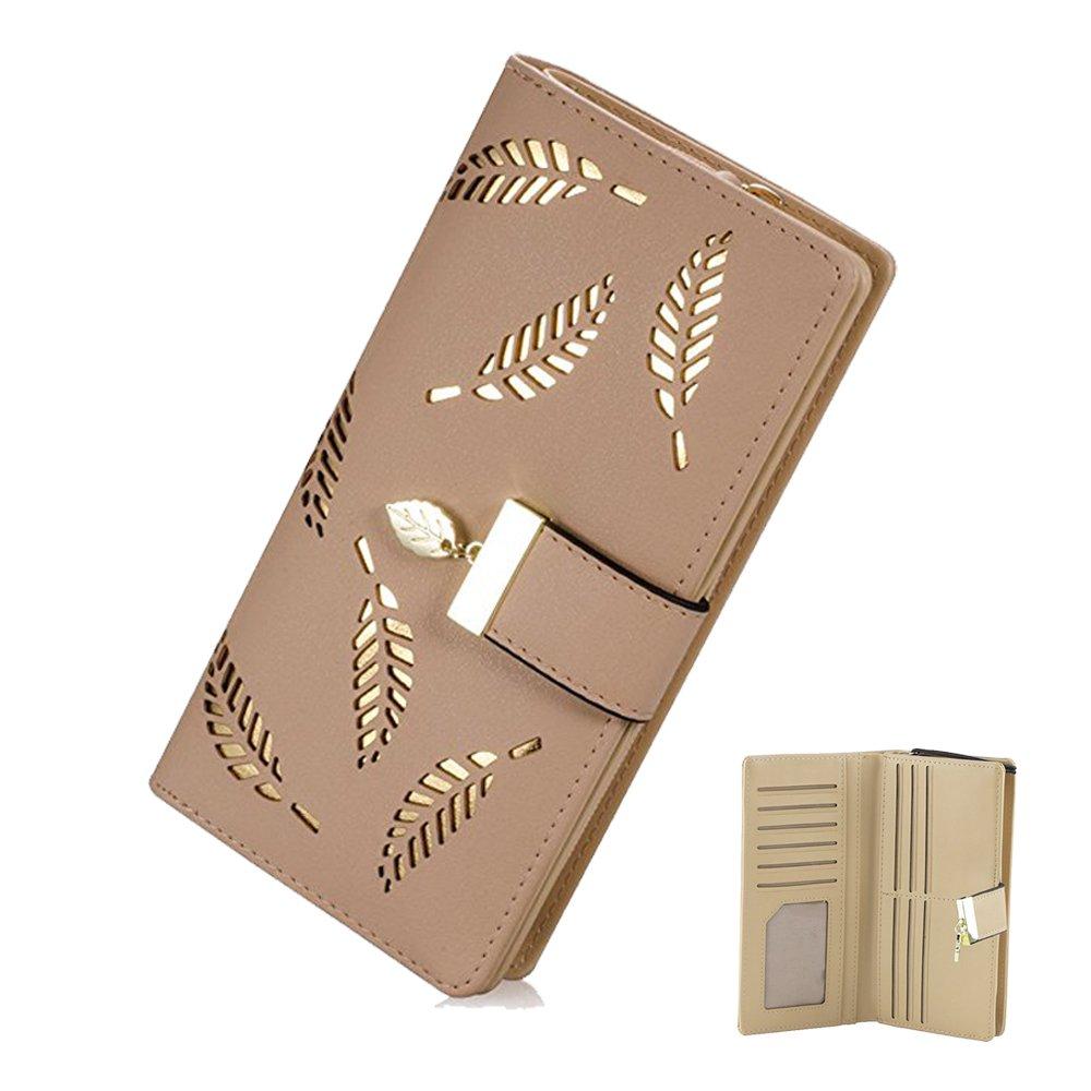 母の日gifts-womenの長い葉二つ折り財布レザーHollowカードホルダー財布クラッチハンドバッグ誕生日ギフトアイデア Big カーキ B06XRGWBJY