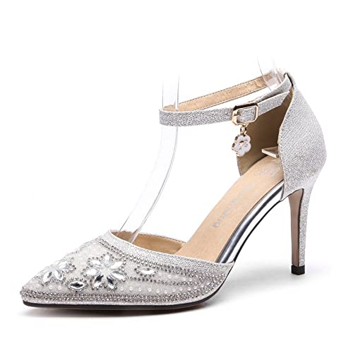 AnMengXinLing Womens Rhinestone Pumps Ankle Strap DOrsay Shoes Silver Beaded Crystal Stiletto 3 1