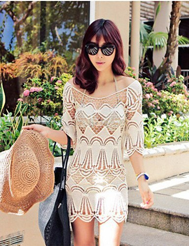 skt-swimwear Damen Fashion Hohl Crochet Halbarm Badeanzug Bademode Bikini Kleid Strand Cover Up