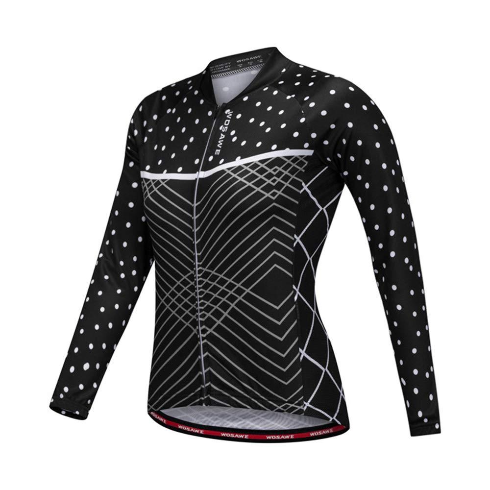 LSKCSH Camisa de Manga Larga de Secado r/ápido y Transpirable para Ciclistas de Ciclista Negro para Mujer Chaqueta de Manga Larga para Ciclista de Ciclo Completo